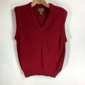 Vintage Maroon Red V Neck SweaterVest Cable Knit L